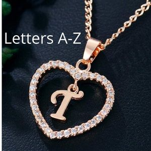 Rose gold initial heart necklace Letter A - Z